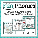 Fundationally Phonics Letter-Keyword-Sound Flash Card & Poster Bundle Level 2