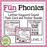 Fundationally Phonics Letter-Keyword-Sound Flash Card & Poster Bundle Level 3