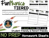 FunPhonics Tiered Homework: Level 2 - Unit 1-6 (NO PREP)