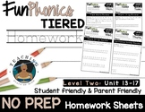 FunPhonics Tiered Homework: Level 2 - Unit 13-17 (NO PREP)