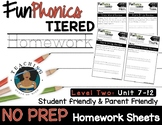 FunPhonics Tiered Homework: Level 2 - Unit 7-12 (NO PREP)