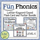 Fun Phonics Letter Keyword Sound Flash Card & Poster Bundle Level K