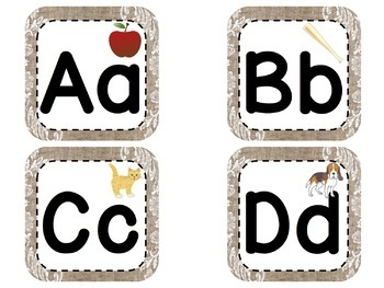 Fundations® Aligned Images on Word Wall Letters and Banner in Burlap