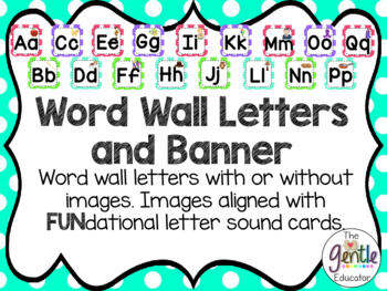 Fundations® Aligned Images on Word Wall Letters and Banner in Polka Dots
