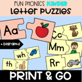 LETTER SOUND Fun Phonics Kinder matching Letter Puzzles - Beginning Sounds