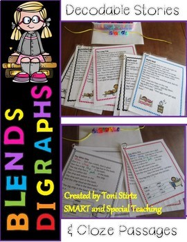 Fundations Level 1  Decodable Stories Digraphs & Blends Pack (RTI/Dyslexia)