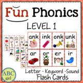 1st Grade Fundationally FUN PHONICS Level 1 Letter-Keyword-Sound Flash Cards