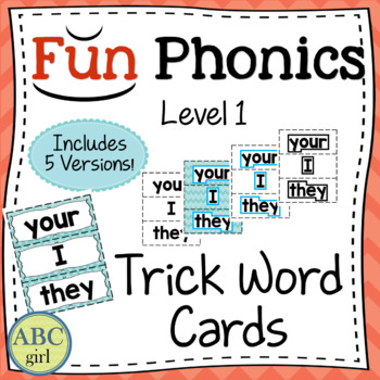1st Grade Fundationally FUN PHONICS Level 1 Trick Word Cards