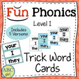 1st Grade Fundationally FUN PHONICS Level 1 Trick Word Cards