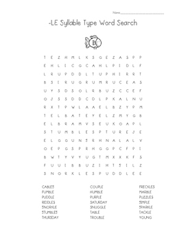 -LE Syllable Type Word Search