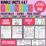 Phonics Level 1 Units 6 and 7 Suffix -s and Glued Sounds Bundle