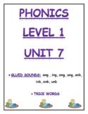 Phonics level 1 unit 7: Glued Sounds, trick words