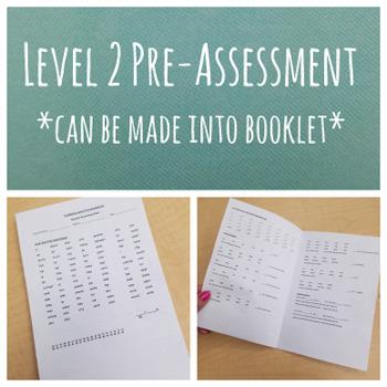 Fundations Level 2 Pre-Assessment Score Sheets