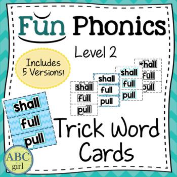 2nd Grade Fundationally FUN PHONICS Level 2 Trick Word Cards