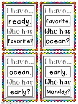 "Second Grade Trick/Sight Words ""I have...Who Has?"" Game"