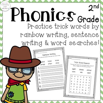 Second Grade Trick Words: Word Searches, Rainbow & Sentence Writing