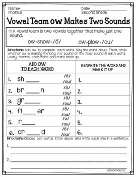 Second Grade Phonics Unit 14 Worksheets by 2teachalatte   TpT