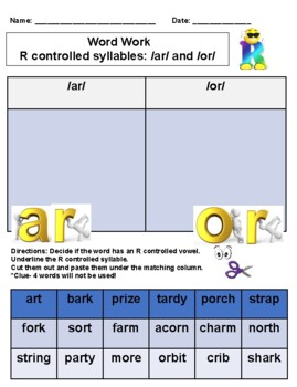 Fundations Level 2, Unit 8 Word Work (R controlled vowels, Trick words)