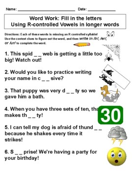 FUNdational Word Work Level 2, Unit 9 (R controlled vowels, Trick words)