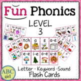 3rd Grade Fundationally FUN PHONICS Level 3 Letter-Keyword-Sound Flash Cards