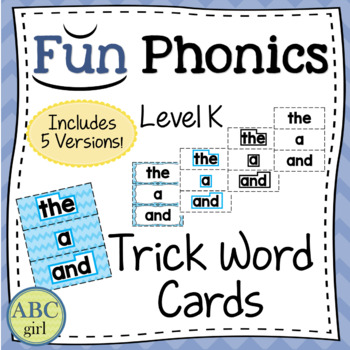 Fun Phonics Kindergarten Trick Word Cards