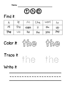 Fun-dations Level K Trick Word Worksheets
