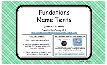 Fundations Name Tag Tents - Legal Size Paper - Green with Plaid