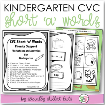 CVC Short 'a' Kindergarten Phonics Support