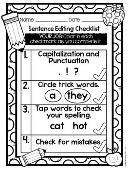 Fundations Compatible Sentence Editing Checklist
