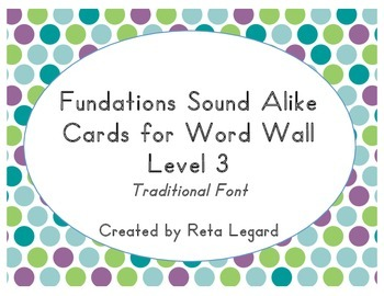 Sound Alike Word Cards - Level 3 (traditional font)