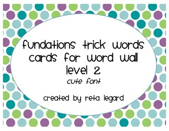 Trick Word Cards - Grade 2 (cute font)