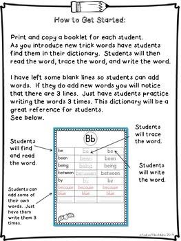 Trick Word Dictionary: Grade 1