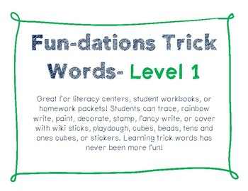 Fun-dations Trick Words Level 1 - Tracer Pages