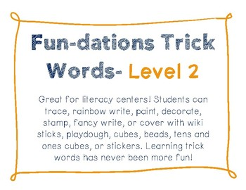 Fun-dations Trick Words Level 2 - Tracer Pages