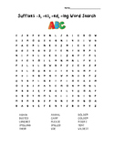 Suffixes  -ed, -s, -es and ing Word Search