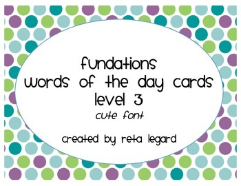 Word of the Day Cards - Grade 3 (cute font)