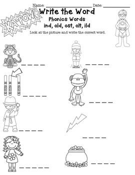 Phonics Intervention Word Work  -old, -ost, -ild Word Families