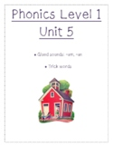 Phonics level 1 unit 5: glued sounds -am and -an and trick words *updated*