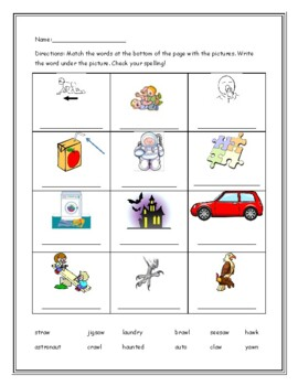 Phonics level 2 unit 16 Resource- sounds of au and aw, trick words