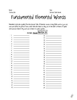 Fundmental Elemental Words