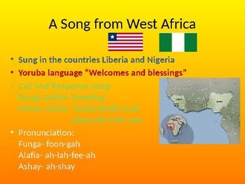 Funga Alafia- Cultural lesson (opt. Ukulele)