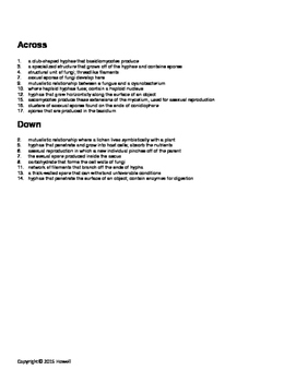 Fungi Crossword for Biology II
