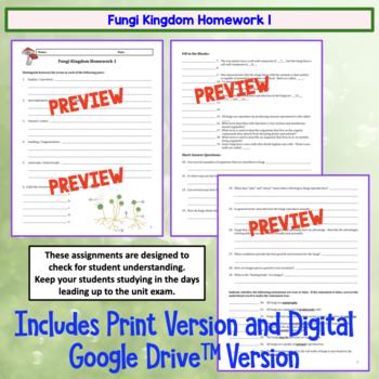 Fungi Homework Set of 2 Worksheets