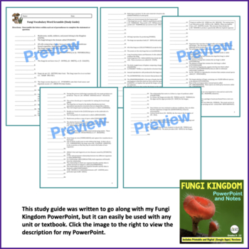 Fungi Word Scramble and Study Guide