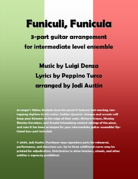 Funiculi, Funicula (Sheet Music for Intermediate Level Guitar Ensemble)