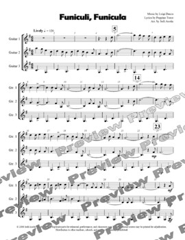 Funiculi, Funicula (Sheet Music for Intermediate Level Guitar Ensemble)