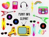 Funky 80's Clip Art Set, Separate Editable EPS Files & Sep