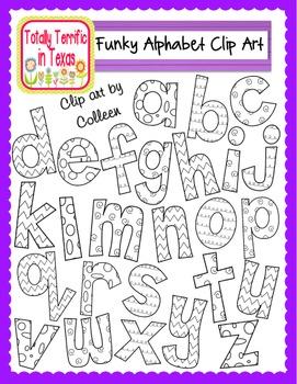 Funky Alphabet Clip Art (Lowercase)