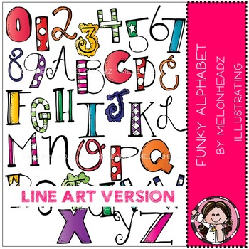 Melonheadz: Funky Alphabet clip art - LINE ART
