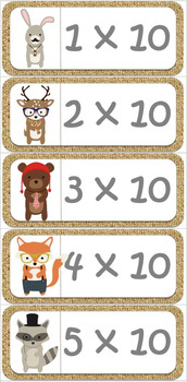Funky Animals Times Tables Flash Cards Set for the 0-20 x Tables